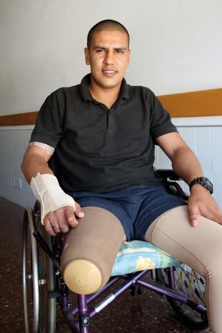 Major Falah El-Hiyab in his wheelchair