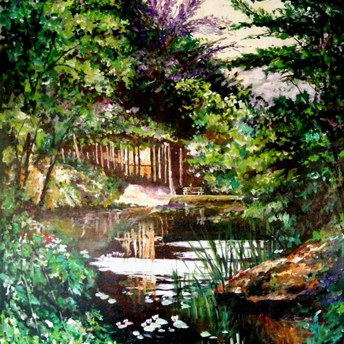 Paining of a stream and waterfall